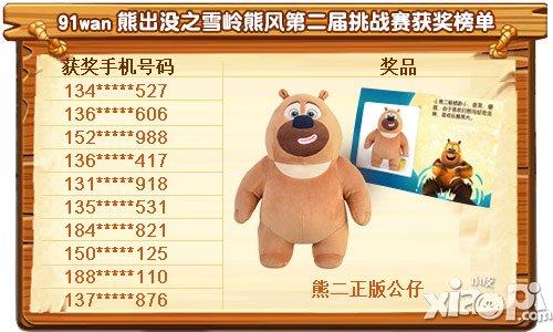 《熊出没之雪岭熊风》第二届挑战赛获奖榜单揭