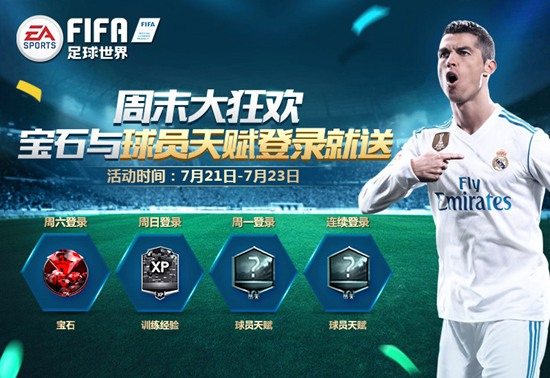 FIFA足球世界周末狂欢!球员天赋登录就送!