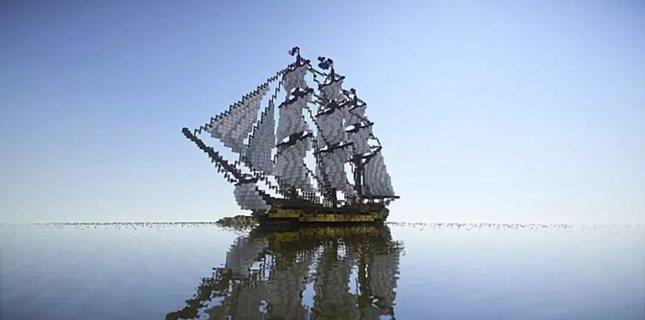 我的世界方块展示完美曲线 从大神造的风帆上能看出流动的风