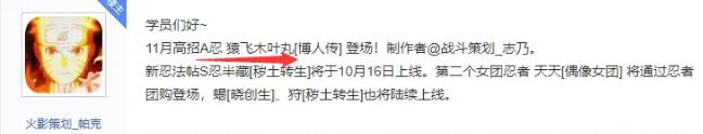 《火影忍者手游》2020年11月高招A忍是谁 11月高招A资料曝光